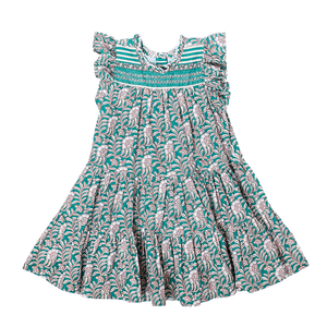 Pink Chicken Kalani Dress 2Y evergreen vine floral