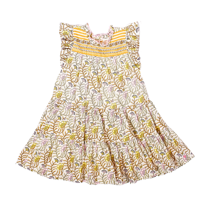 Pink Chicken Kalani Dress 2Y antique white vine floral