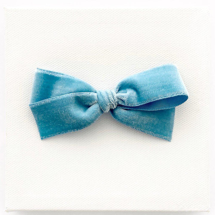 Pink Chicken LaBelle Baby Velvet Willa Bow - French Blue