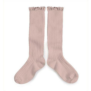 Pink Chicken Ruffle Lace Knee Socks - Rose 18/20