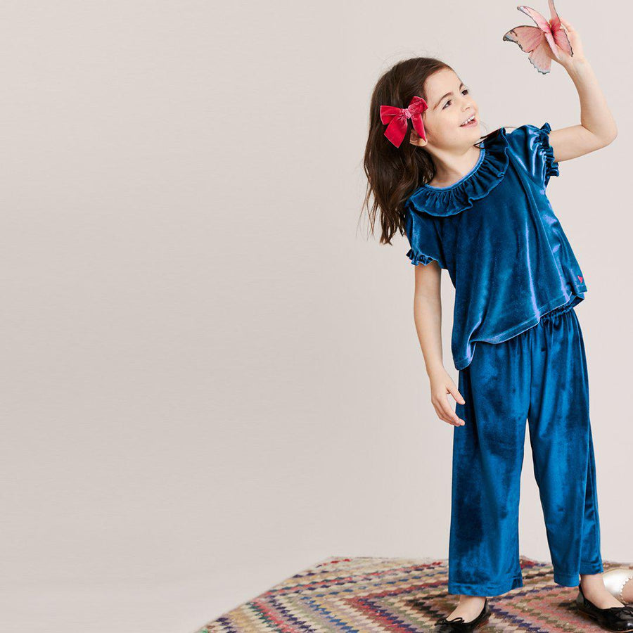 Pink Chicken Theodore Pant 2Y blue velour