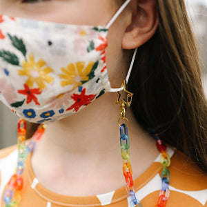 Pink Chicken Masklette Face Mask Lanyard - Rainbow Chain