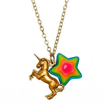 Pink Chicken Unicorn and Star Necklace