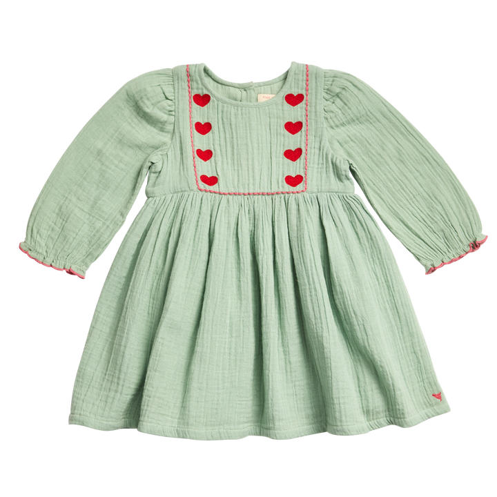 Pink Chicken Nicky Dress 2Y frosty green w/heart embroidery