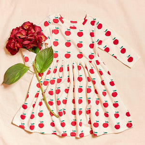 Pink Chicken Organic Steph Dress 2Y antique white apples