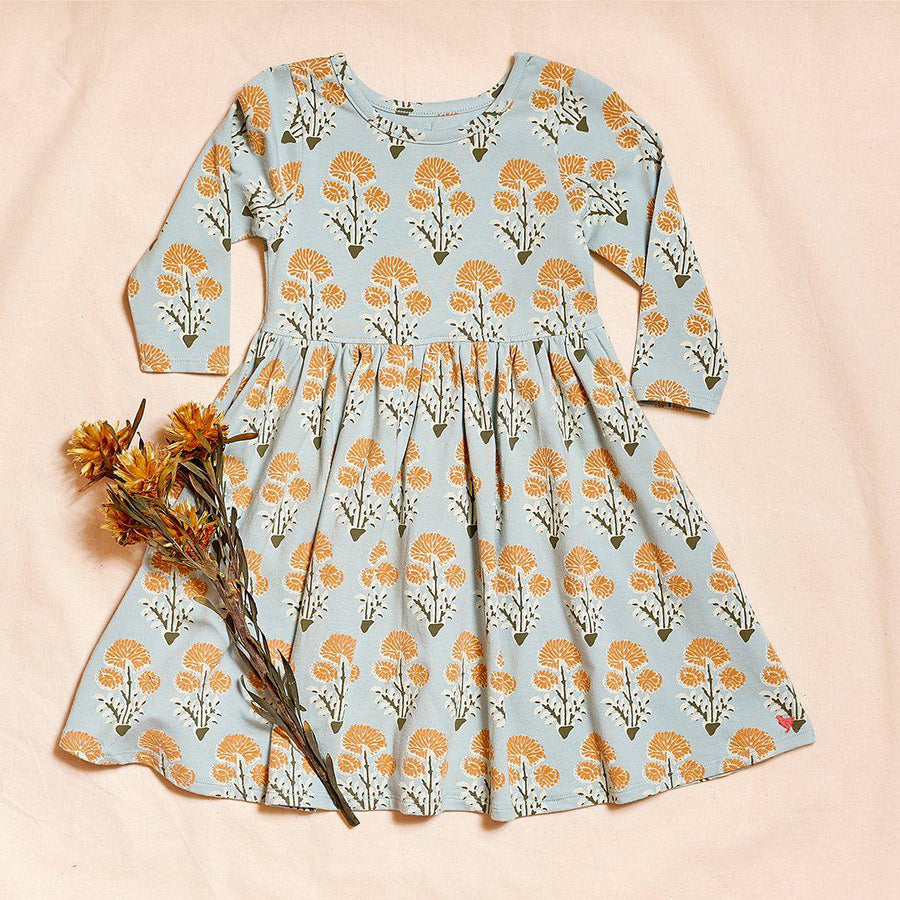 Pink Chicken Organic Steph Dress 2Y winter sky medallion floral