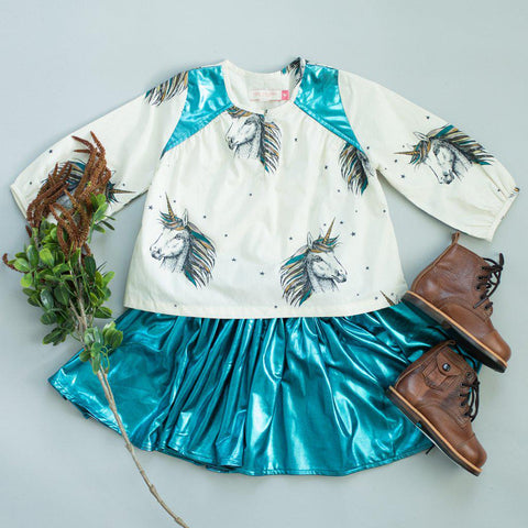 Pink Chicken Gianna Skirt 2y 19ffpc523d - turquoise lame