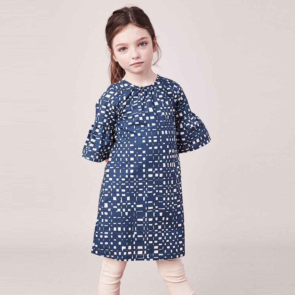 Pink Chicken Ophelia Dress 2y 19ffpc191e - indigo abstract plaid