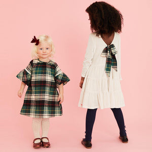 Pink Chicken Pearl Dress 2y winter white velour - 19hpc285a