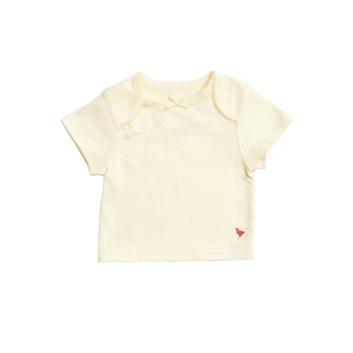 Pink Chicken Organic Baby Tee 0/3M antique white