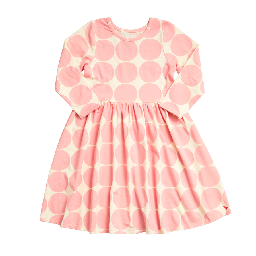 Pink Chicken Organic Steph Dress 2Y mellow rose oversized dot