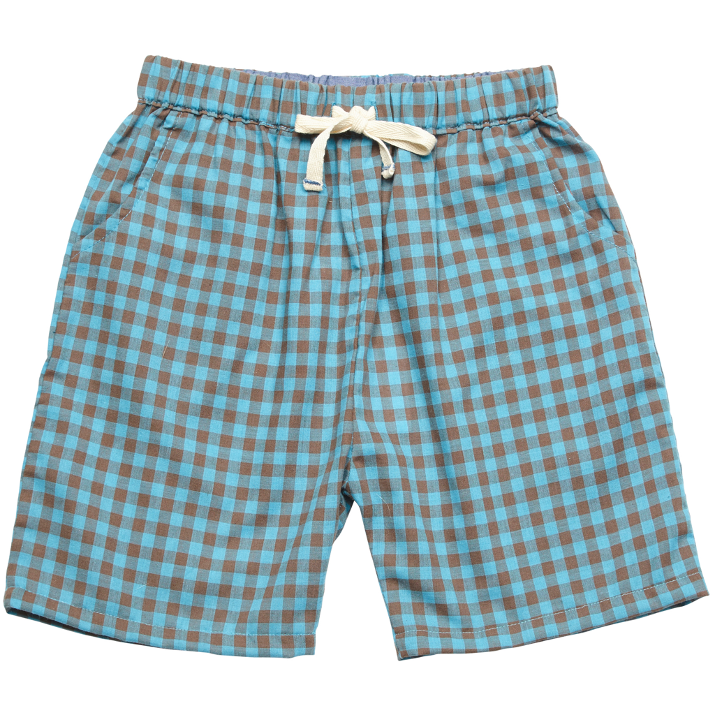 Pink Chicken Liam Long Short 2y blue/brown plaid - 18sbr123c