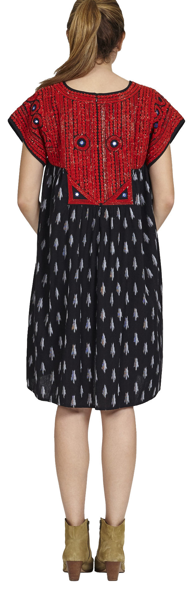 View larger version of Pink Chicken Juno Dress xs black ikat w/red embroidery - 18ffpcw187a