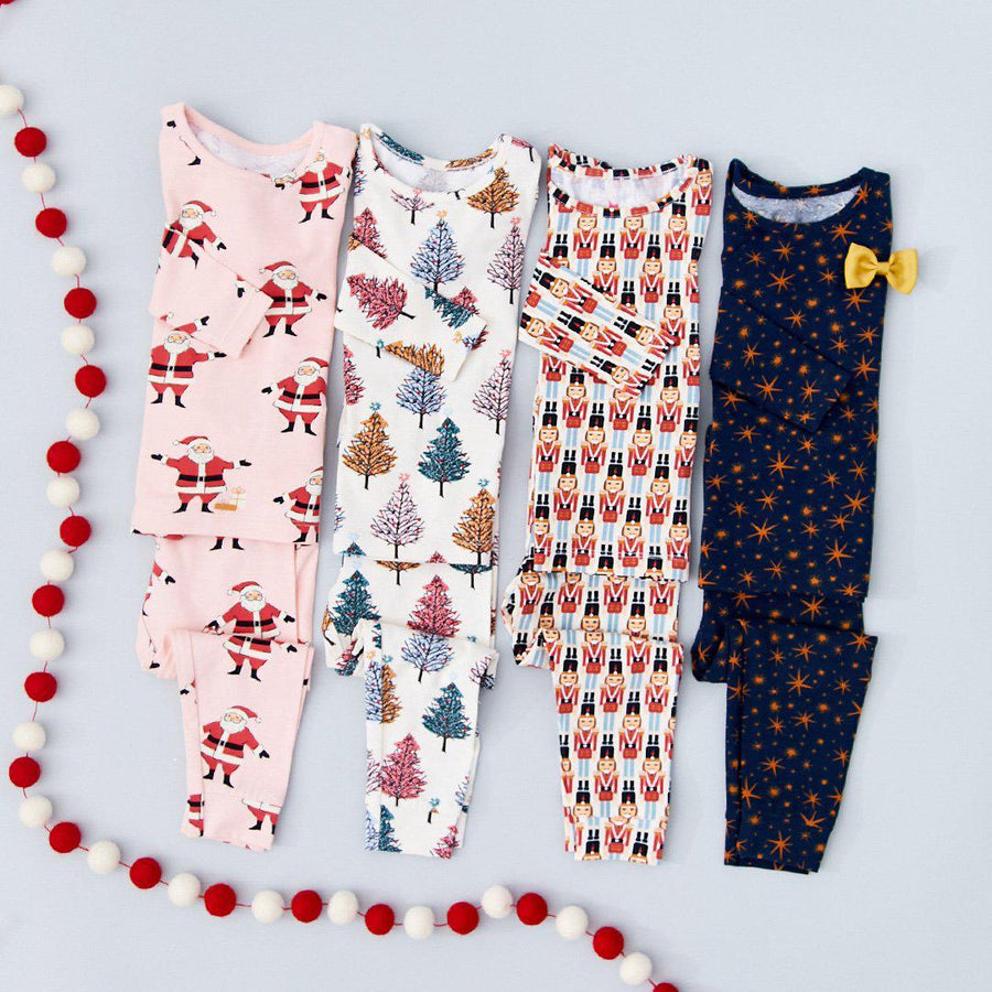 Pink Chicken Kid's Holiday PJ Set 2y antique white nutcracker