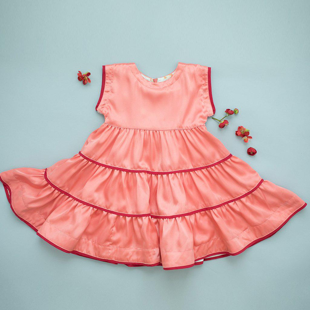 View larger version of Pink Chicken Peachy Dress 2y coral satin - 19fpc334a