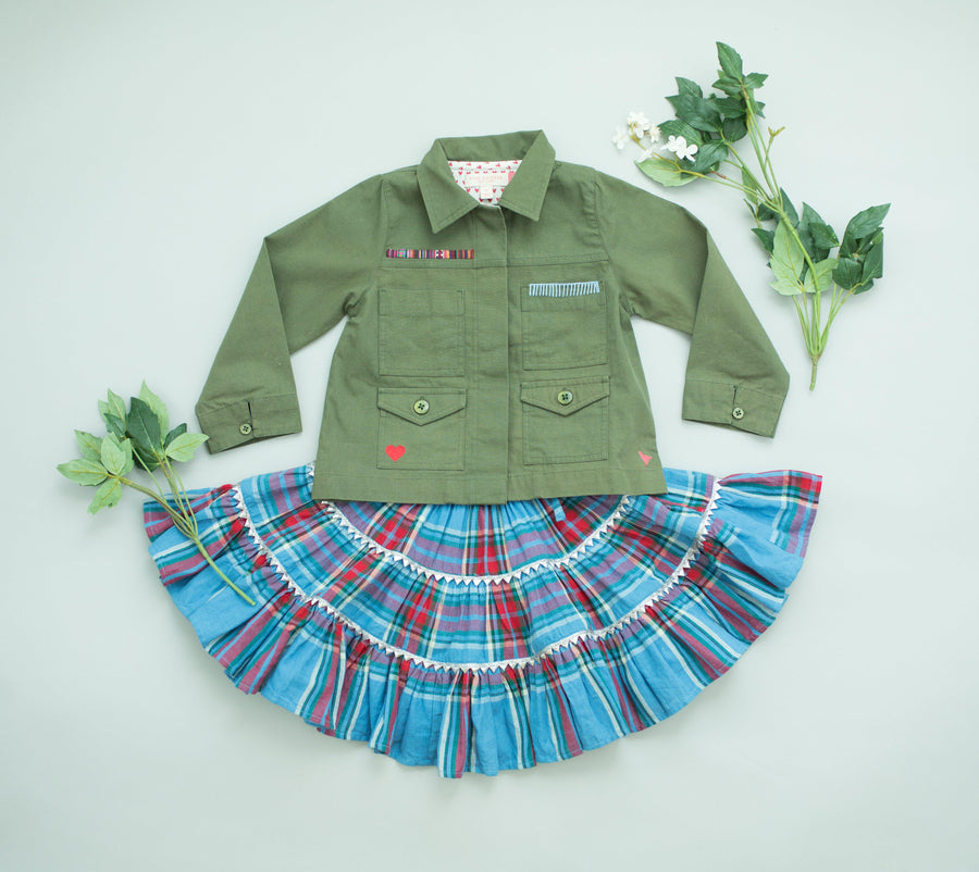 Pink Chicken Allie Skirt 2y riviera tartan - 19fpc214a