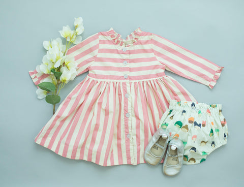 Pink Chicken Autumn Dress Set 3/6m mauveglow stripe - 19fpcb529a