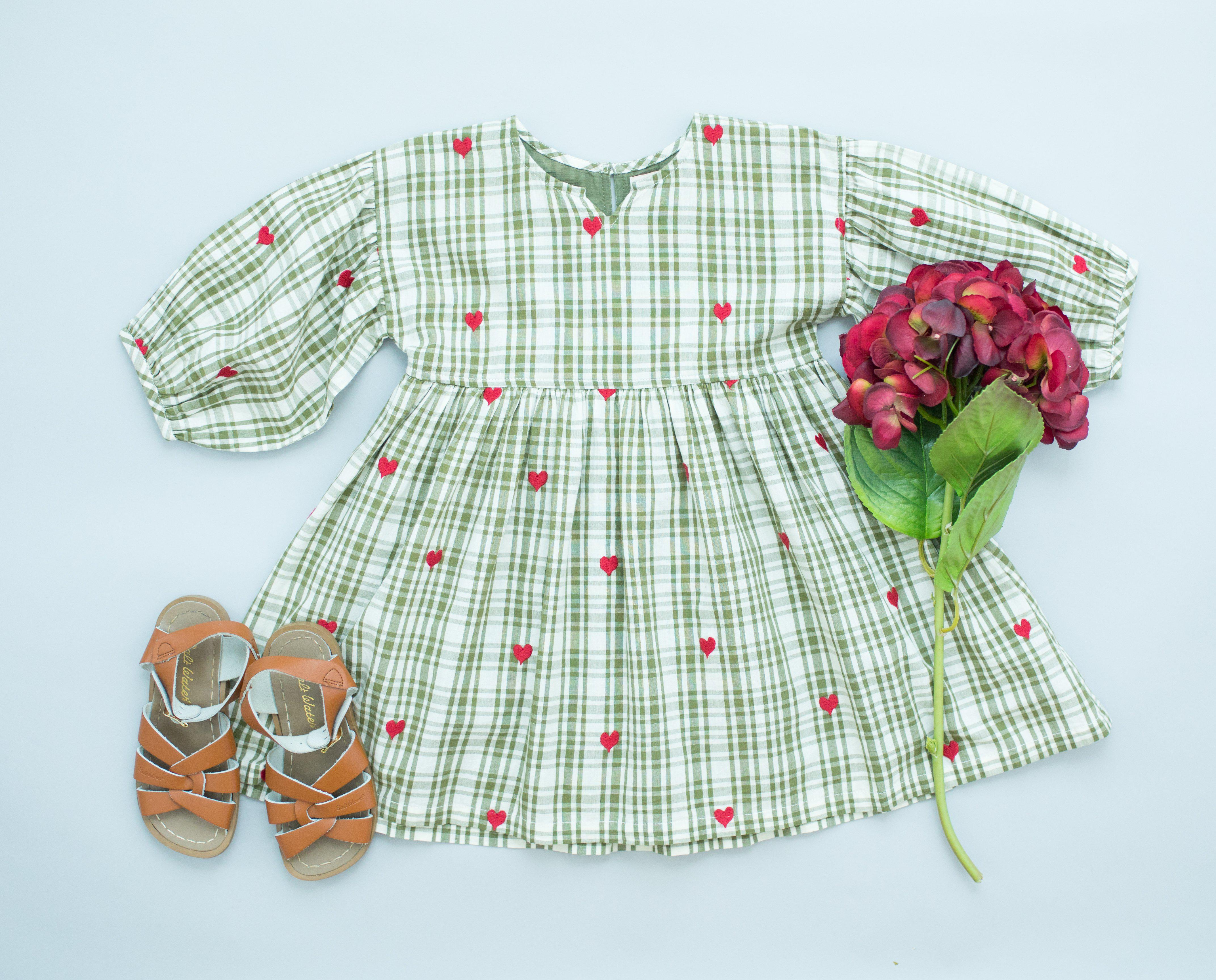 View larger version of Pink Chicken Celeste Dress 2y army green plaid w/heart emb - 19fpc274b