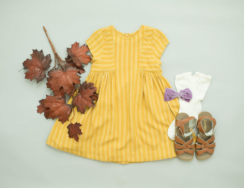 Pink Chicken Elara Dress 2y mustard stripe - 19fpc340a