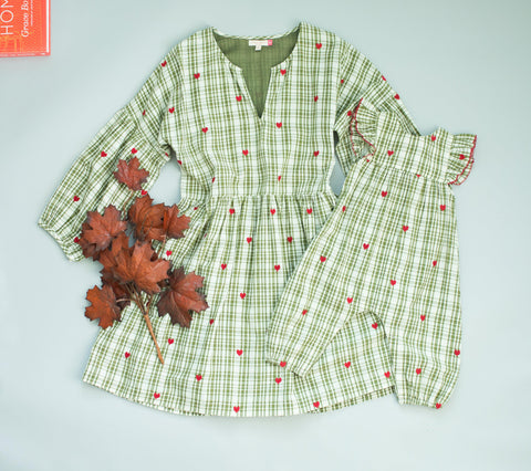 Pink Chicken Celeste Dress XS army green plaid w/heart emb - 19fpcw193a