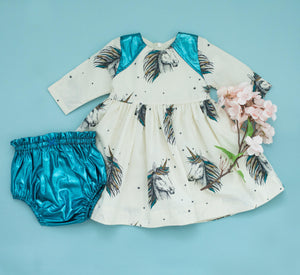 Pink Chicken Opal Dress Set 3/6m 19ffpcb530a - antique white unicorn