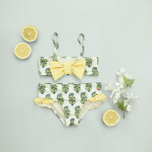 Pink Chicken Brie Bikini 2y antique white vintage floral