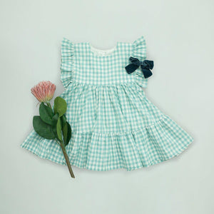 Pink Chicken Kit Dress 2y dusty teal gingham