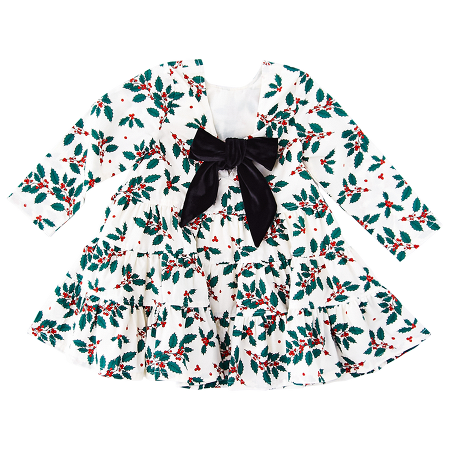 Pink Chicken Pearl Holly Dress 2y evergreen holly