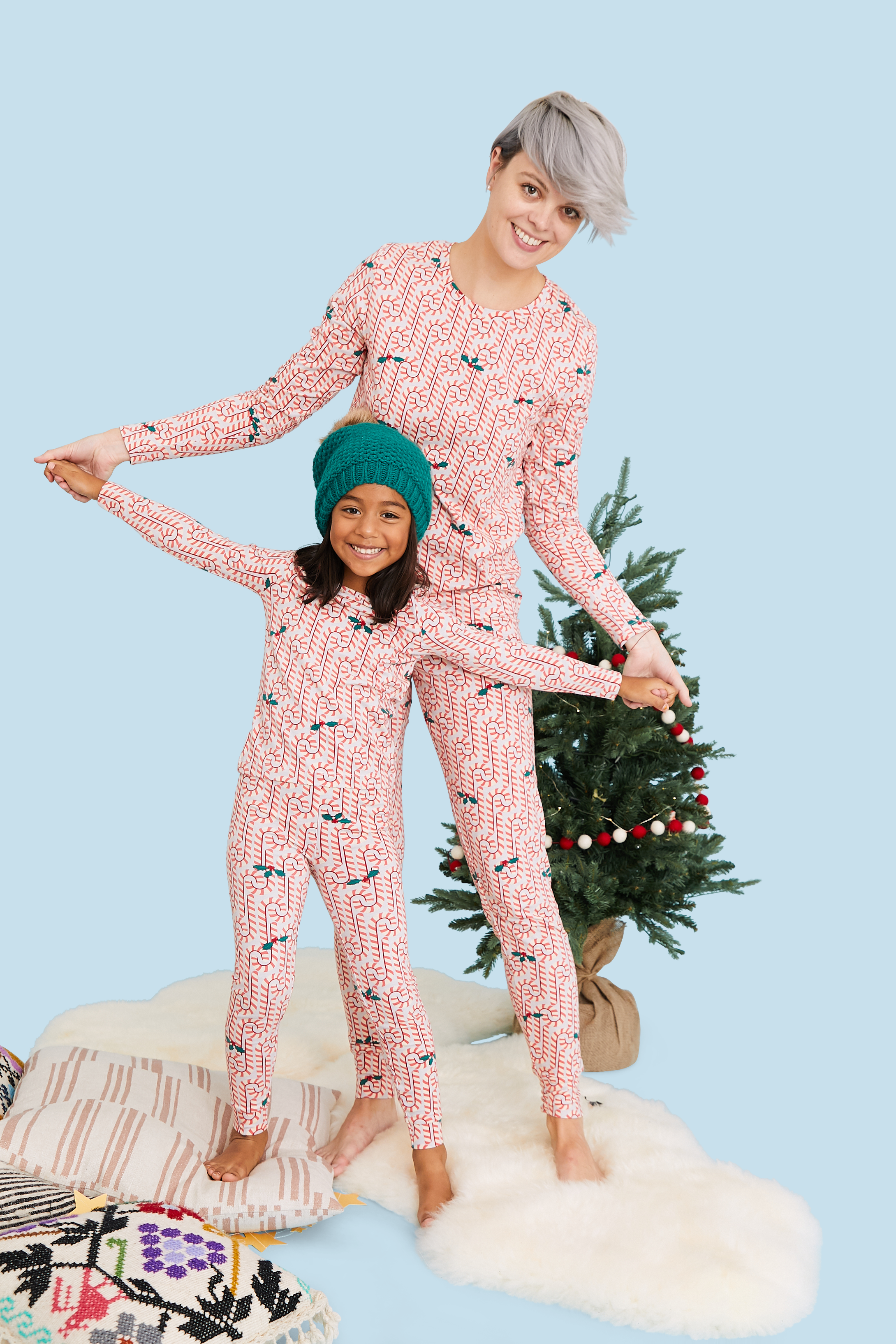 View larger version of Pink Chicken Women's Holiday PJ Set xs light gray candy canes - 19hpcw363c