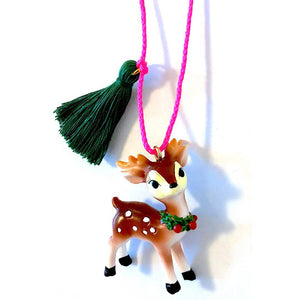 Pink Chicken Holiday Reindeer Necklace