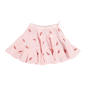 Pink Chicken Allie Skirt 2Y chalk pink w/ watermelons embroidery