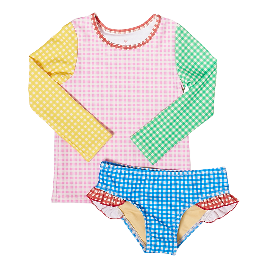Pink Chicken Rash Guard Set 2Y mixed gingham