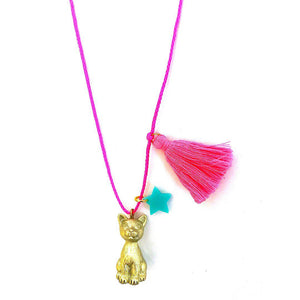 Pink Chicken Sawyer the Gold Cat Necklace
