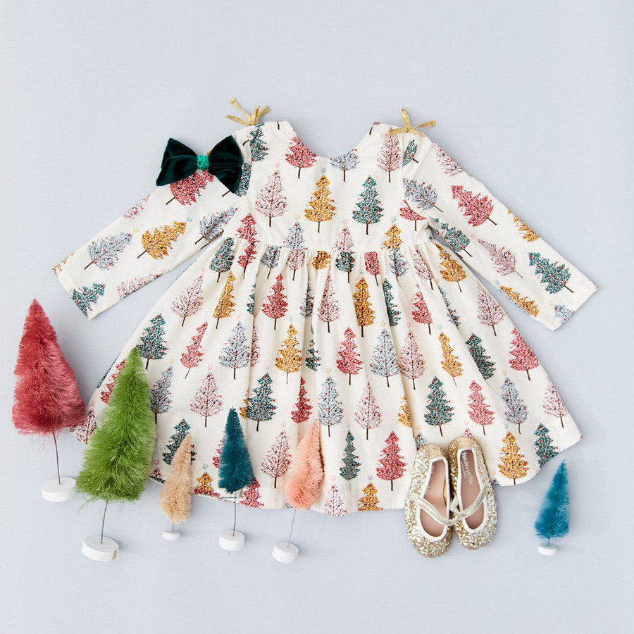 Pink Chicken Sheila Dress 2y multi christmas trees