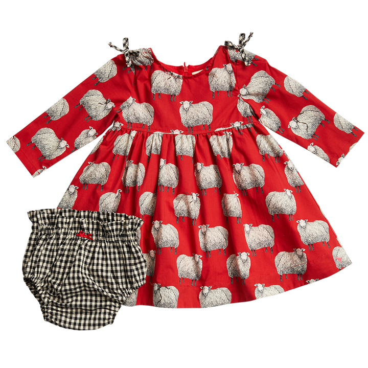 Pink Chicken Sheila Dress Set 3/6M tango red sheep