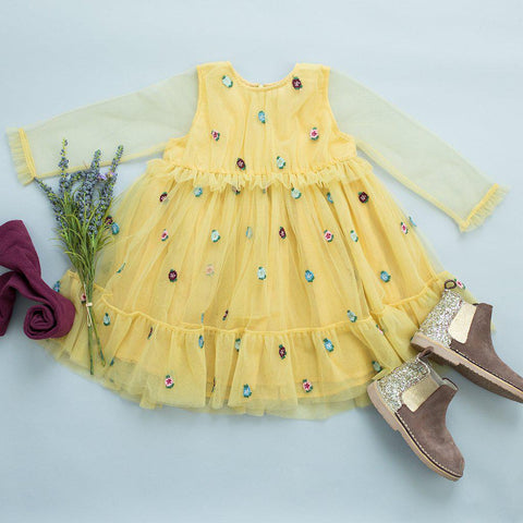 Pink Chicken Sienne Dress 2y cornsilk tulle - 19ffpc342c