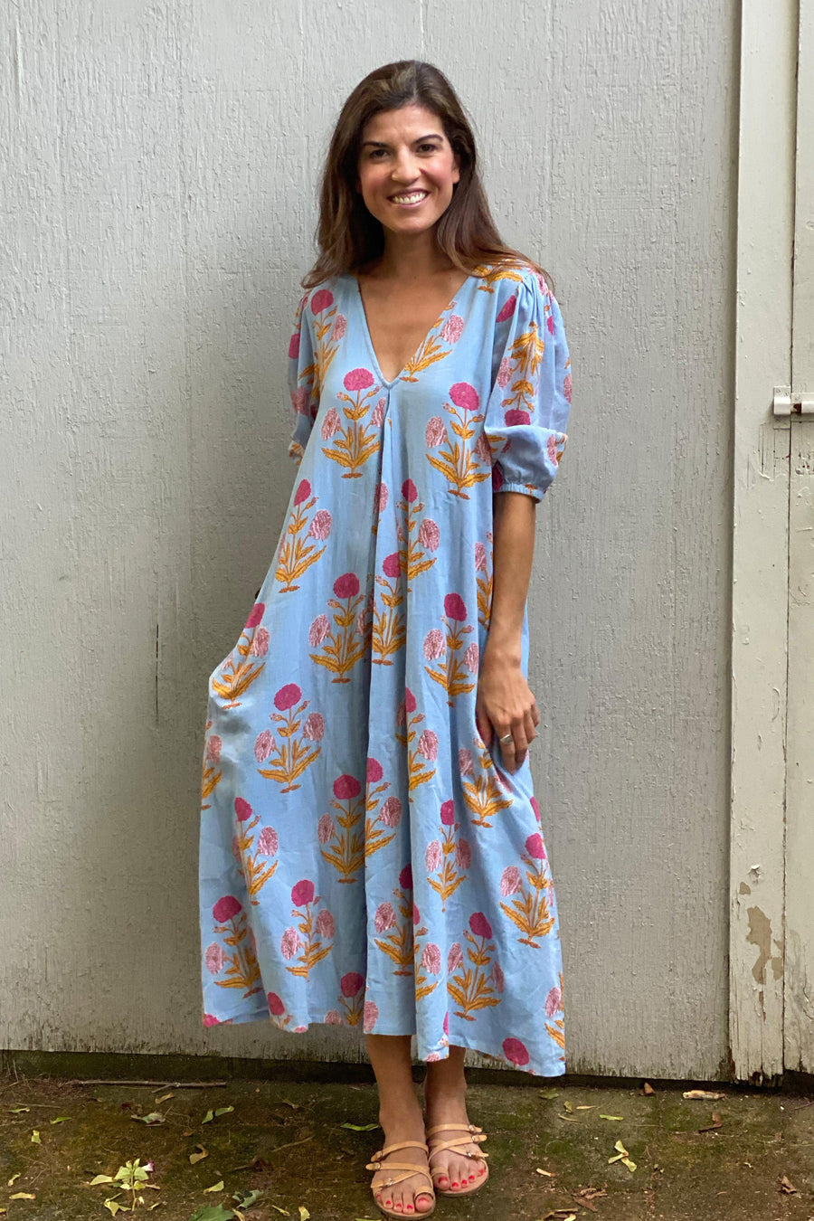Pink Chicken Emmerson Dress XS blue bell oversized dandelion