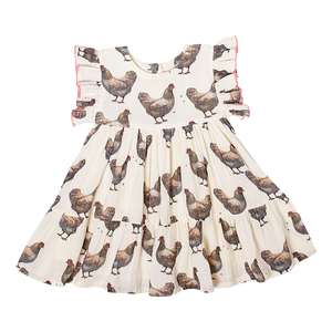 Pink Chicken Kit Dress 2Y chickens