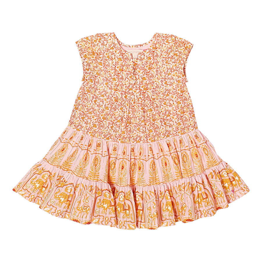 Pink Chicken Penelope Dress 2Y strawberry cream indian mix