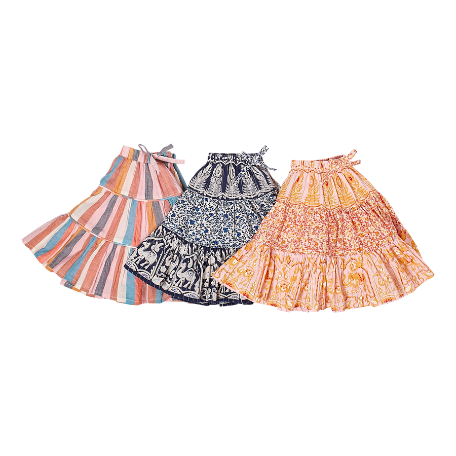 Pink Chicken Allie Skirt 2Y multi stripe