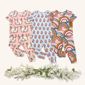 Pink Chicken Baby Spring PJ Set 3/6m cloud pink rainbows