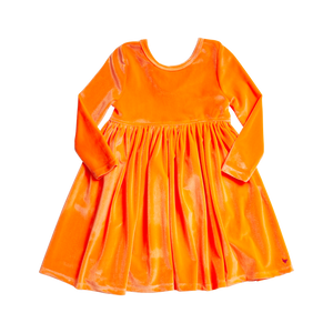 Pink Chicken Steph Dress 2Y neon orange velour