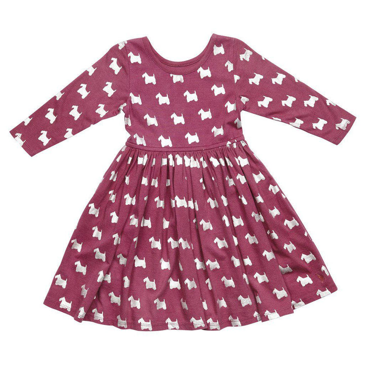 Pink Chicken Steph Dress 2y boysenberry scottish terrier w/foil - 17fpc220a