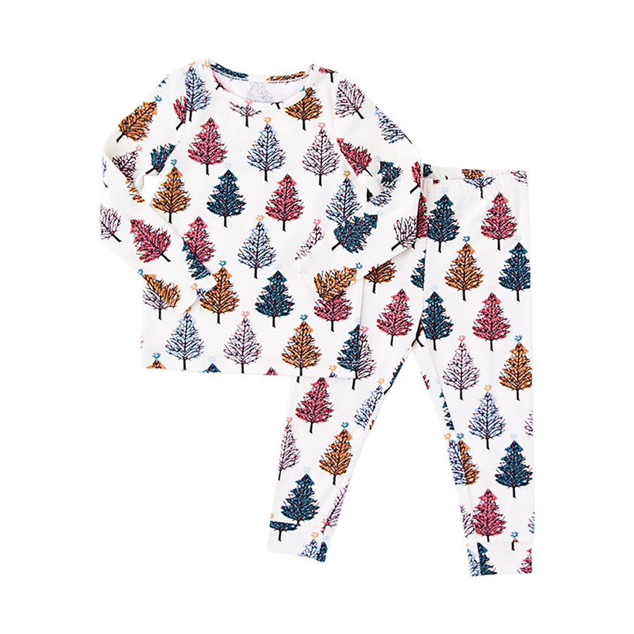 Pink Chicken Baby Holiday PJ Set 3/6m multi christmas trees