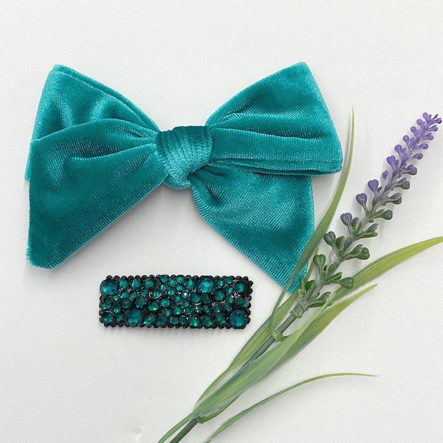 Pink Chicken Bow - Turquoise Velour OS turquoise velour