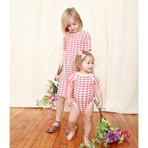 Pink Chicken Organic Steph Dress 2Y rapture rose hearts