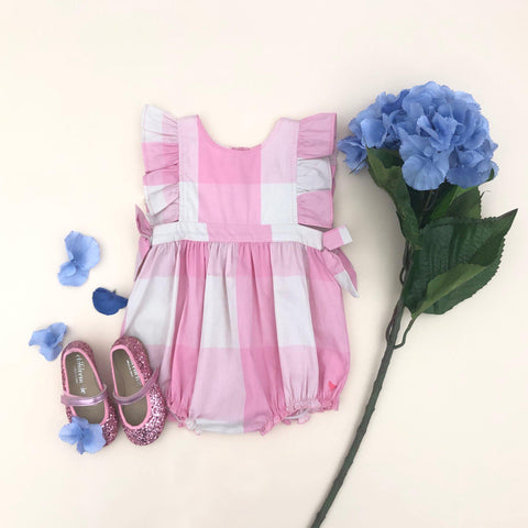 Pink Chicken Amy Bubble 3/6m sea pink gingham - 20espcb506a