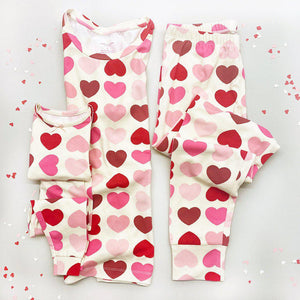 Pink Chicken Women's V-Day PJ Set XS scalloped hearts