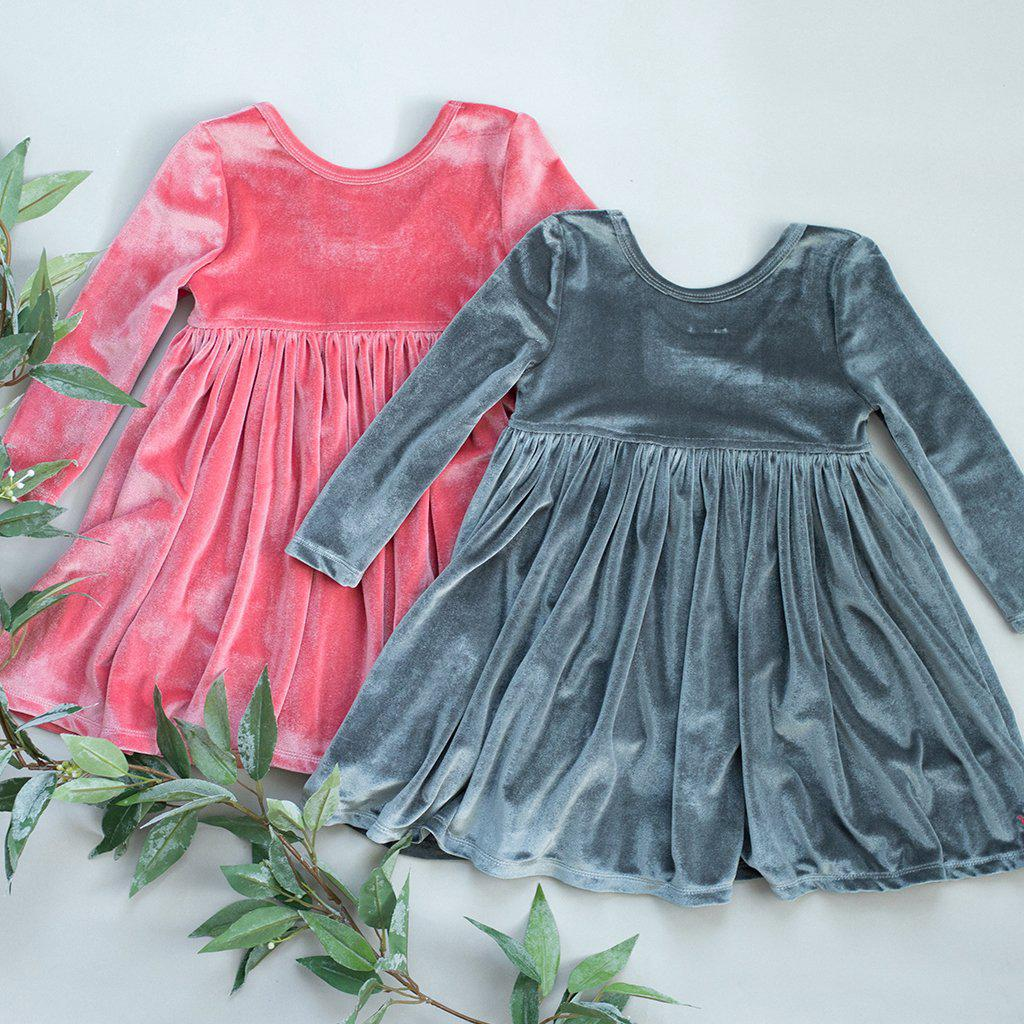 View larger version of Pink Chicken Steph Dress 2y dark gray velour - 19ffpc220g