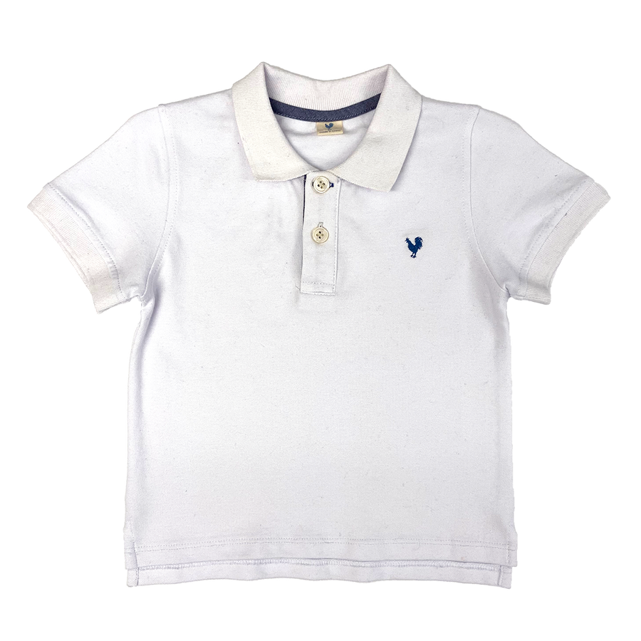 Pink Chicken Classic Piquet Polo Shirt 2y white